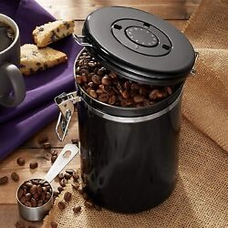 Kitchen Coffee Canister amp; Scoop Set Black Airtight Stainless Steel Bean Storage $39.97
