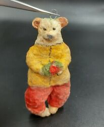 USSR Christmas tree toy Ornament Vintage decoration Cotton bear and flower $18.99