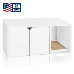 Cat Litter Box Enclosed Eco Stackable Modern House Furniture Scratch Pad White $97.22