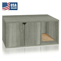 Cat Litter Box Enclosed Eco Stackable Modern House Furniture Scratch Pad Grey $97.22