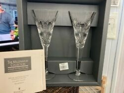 Waterford Millennium PROSPERITY Crystal Champagne Toasting Flutes Box of 2 $69.00