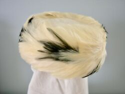 Vintage White Feather Pillbox Hat USA Union Made Black Feather Accents $10.99