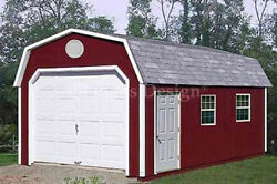 12' x 24' Garage Building  Storage Shed Barn Roof Style Plans Design  #31224