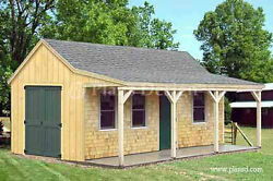 12' x 20' Building Cottage Shed With Porch Plans Material List Included #81220