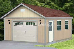 16 x 28 Classic Gable Roof Car Garage Shed Plans Design #51628