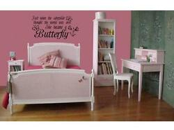 SHE BECAME A BUTTERFLY Girls Room Wall Decal Quote 24