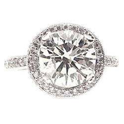 2.11CT D VVS 18KTW ROUND DIAMOND ENGAGEMENT RING