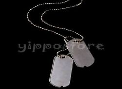 U.S. Military Spec Army WWII Blank Dog Tags Set w Stainless Steel Chains $4.50