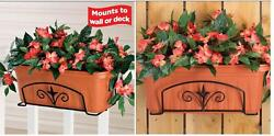 Finial Flower Box Holder Crafted Solid Steel Mounts To Fence Or Deck Rail