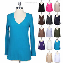 JUNIOR PLUS SIZE Basic Cotton Solid V Neck Long Sleeve T Shirt Top Easy Casual $8.99