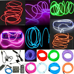 Neon LED Light Glow EL Wire String Strip Rope Tube Decor Car Party + Controller $7.92