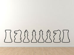 Chess Icon Champion Back Row Set Outline Silhouette Vinyl Wall Decal $11.99