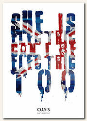 OASIS - She s Electric - song lyric poster typography art print - 4 sizes