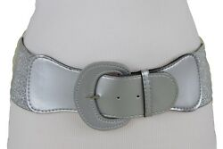 Fun Women Fashion Metallic Silver Wide Faux Leather Belt High Waist Hip Size M L $12.99