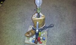 Vintage western cowboy boot lamp pistol poker florentine art studio decor