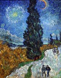 Country road in Provence by night by Vincent Van Gogh Giclee Repro on Canvas $44.95