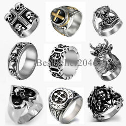 Heavy 316L Stainless Steel Mens Skull Cross Gothic Punk Biker Ring Size 7 14
