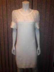CHANEL 2013 13B Knit Cashmere Short Sleeve Sweater Dress Cream White 38 FR $2390