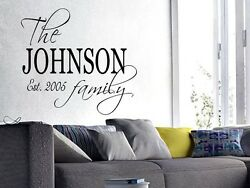 FAMILY NAME EST. PERSONALIZED Wall Art Decal Quote Words Lettering Decor DIY $8.95