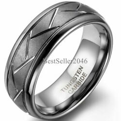 Comfort Fit 8mm Dome Grooved Men Tungsten Carbide Brushed Wedding Ring Size 7-12