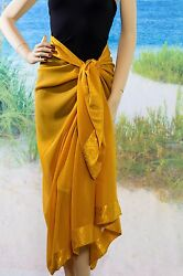 Gold Sarong Pareo Sheer Beach Swimsuit Cover up $14.00