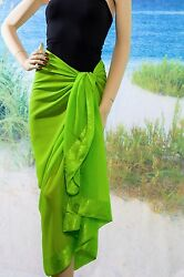 Green Sarong Pareo Sheer Beach Swimsuit Cover up $14.00