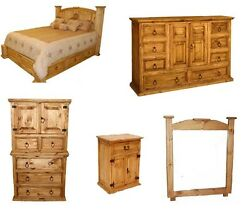 Rustic Western 5pc Mansion Storage Bed Bedroom Set Full Size Solid Pine