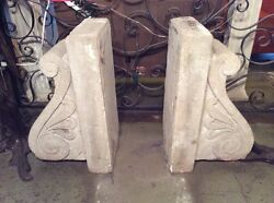 Antique Limestone Low Relief Scroll Corbel PAIR Architectural Salvage #8012