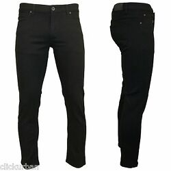 KAYDEN.K JET BLACK Men's Skinny Fit Stretch Twill Denim Jeans Pants Size 28-42
