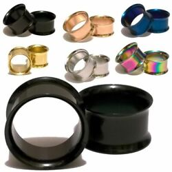 Pair Double Flared Titanium Stainless Steel Ear Tunnels Plugs Gauges Earrings $5.99