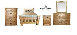 Queen Size Real Wood Rake Mansion Bedoom Set Western Rustic Master Guest