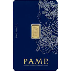 1 gram Gold Bar PAMP Suisse Fortuna 999.9 Fine in Sealed Assay $83.47