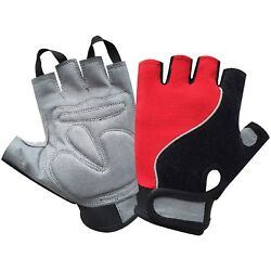 Power Cycling Gloves Finger Less Gym Fitness Weight Lifting Rubber Padded 604 GBP 8.99
