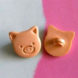 20 Pig Head Novelty Clothing Self Shank Sew On Buttons Cardmaking Brown K399 $2.80