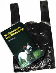 500 DOG PET WASTE POOP BAGS WITH HANDLES Black by Petoutside Made In USA $14.99