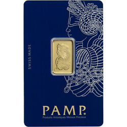 5 gram Gold Bar PAMP Suisse Fortuna 999.9 Fine in Sealed Assay $348.05
