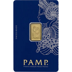 2.5 gram Gold Bar - PAMP Suisse - Fortuna - 999.9 Fine in Sealed Assay