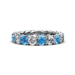 Blue Topaz & Diamond Womens Eternity Ring Stackable 4.23 ctw* 14K Gold JP:29354