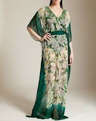 $3810 New Oscar de la Renta Embellished Kaftan Green Silk Caftan Gown DRESS S