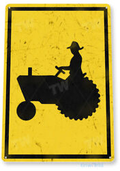 TIN SIGN Tractor Crossing Metal Décor Art Kitchen Cottage Store Farm A713 $9.25
