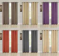 2 PANEL SOLID LINED THERMAL BLACKOUT GROMMET WINDOW CURTAIN DRAPE 2 SIZES K32 $21.00
