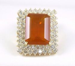 Fine Emerald Cut Mexican Fire Opal Ring wDiamond Halo 14k Yellow Gold 13.51Ct