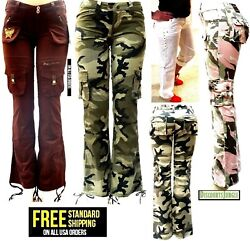 BLUE POINTE JEANS Juniors Womens Stretch premium Camouflage White cargo pants $22.99