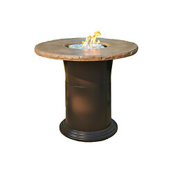 Outdoor Greatroom Colonial Pub Height Fire Pit Table Mocha New