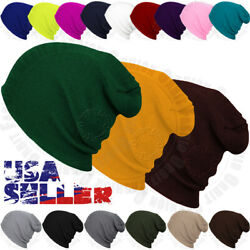 Beanie Plain Knit Hat Winter Warm Cap Cuff Slouchy Skull Hats Ski Men Women