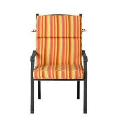 Outdoor Patio Dining Chair Cushion Seat Back Replacement Orange Yellow Stripe