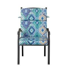 Outdoor Patio Dining Chair Cushion Seat Back Replacement Blue Green Medallion
