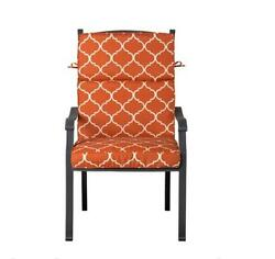 Outdoor Patio Dining Chair Cushion Seat Back Replacement Orange Geometric
