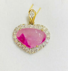 18k Solid Yellow Gold Heart Pendant with Antique Pink Ruby and Natural Diamonds
