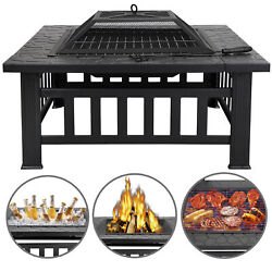 Square Fire Pit Outdoor Patio Metal Heater Deck Backyard Fireplace wCover 32